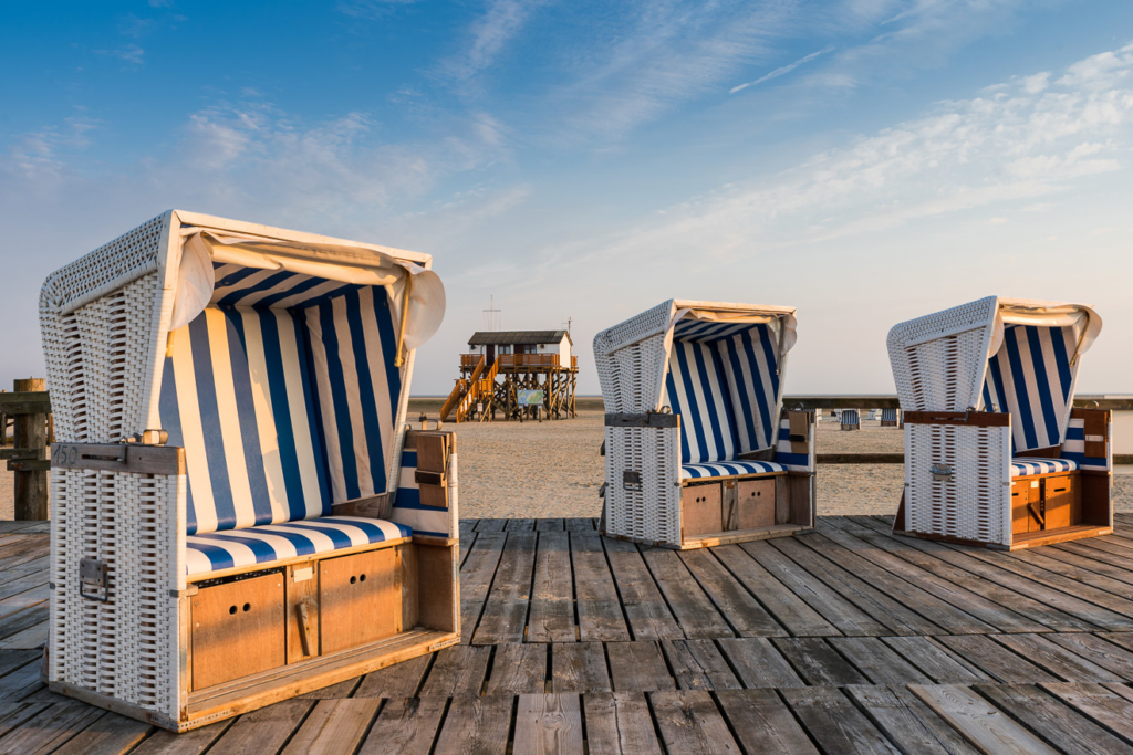 Strandkörbe auf dem Strand von St. Peter-Ording; Nordfriesland;
